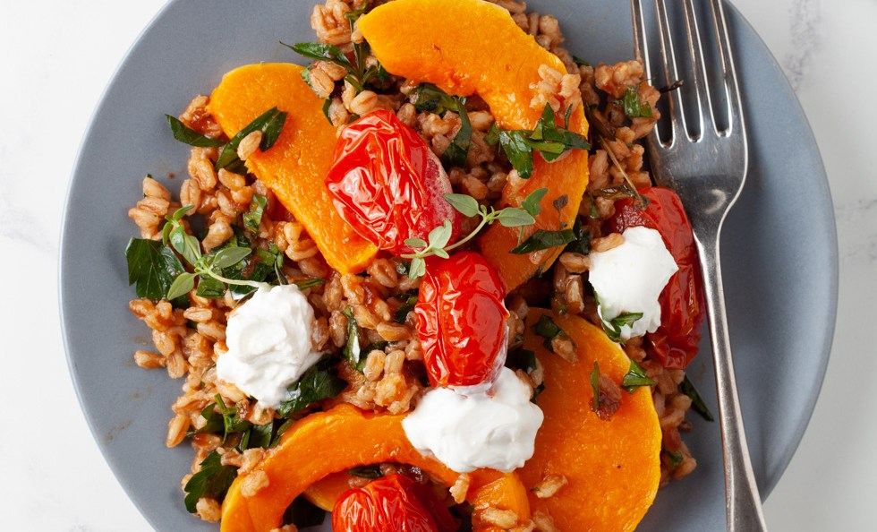 Warm salad of Farro and Squash