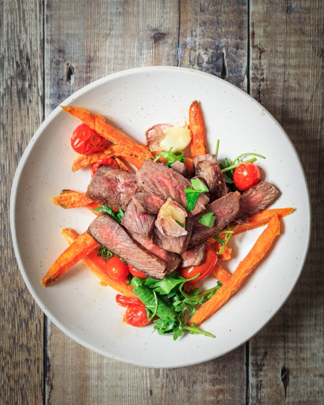 Wagyu Beef Denver Steak with Sweet Potato Fries