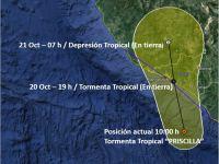 Prevén que Tormenta Tropical Priscila toque tierra esta tarde en Colima