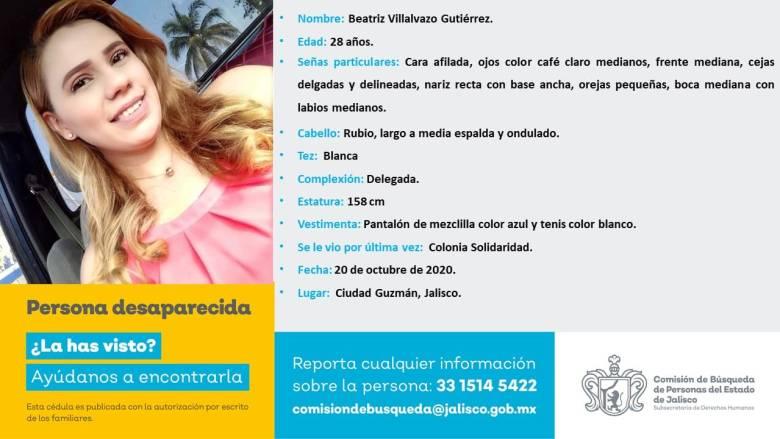 Extienden a todo Jalisco búsqueda de Beatriz, desaparecida en Ciudad Guzmán