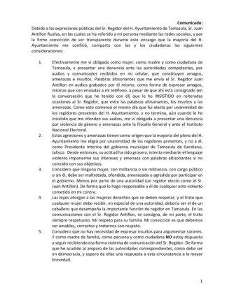 Comunicado presidenta interina Tamazula parte1