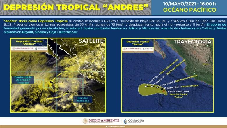Andrés se degrada a Depresión Tropical, provocará lluvias fuertes