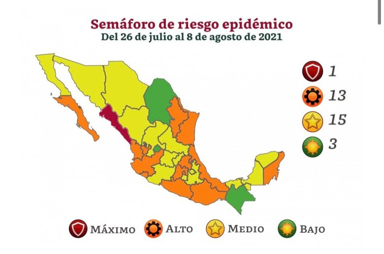 Jalisco regresa a semáforo naranja por incremento de contagios de Covid-19