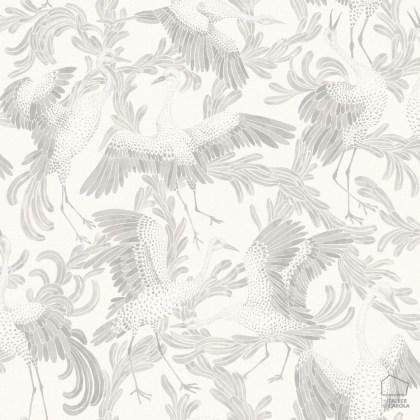 Papel Pintado Pájaros Grullas Gris 0693653_sim_cran