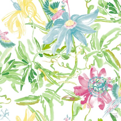 0694800033lar Papel Pintado Vegetal y Flores Verdes