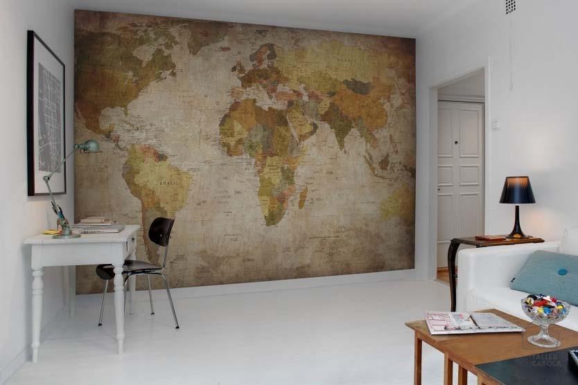 080mapr10771 Mural Mapa Mundi Antiguo Tierras