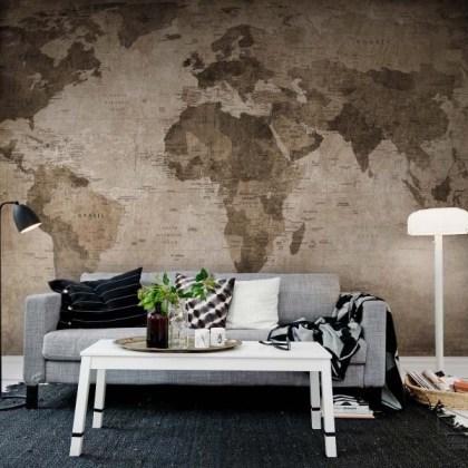 080mapr10772 Papel Pintado Mural Mapa Mundi Antiguo Marrón