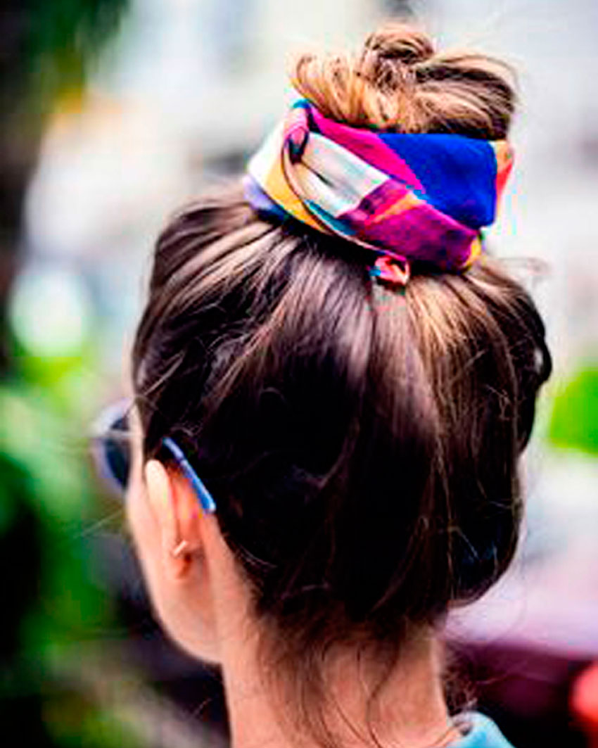 pañuelo, recogido, pelo, moño, outfit, trendy, style