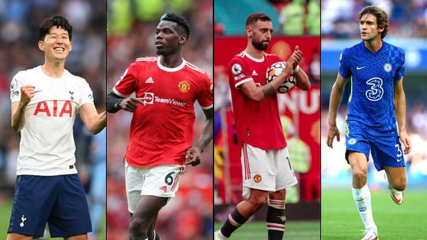 Son Heung-min (Tottenham), Paul Pogba (Manchester United), Bruno Fernandes (Manchester United), Marcos Alonso (Chelsea)
