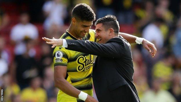 Watford manager Xisco Munoz and player Adam Masina celebrate after their win over Aston Villa