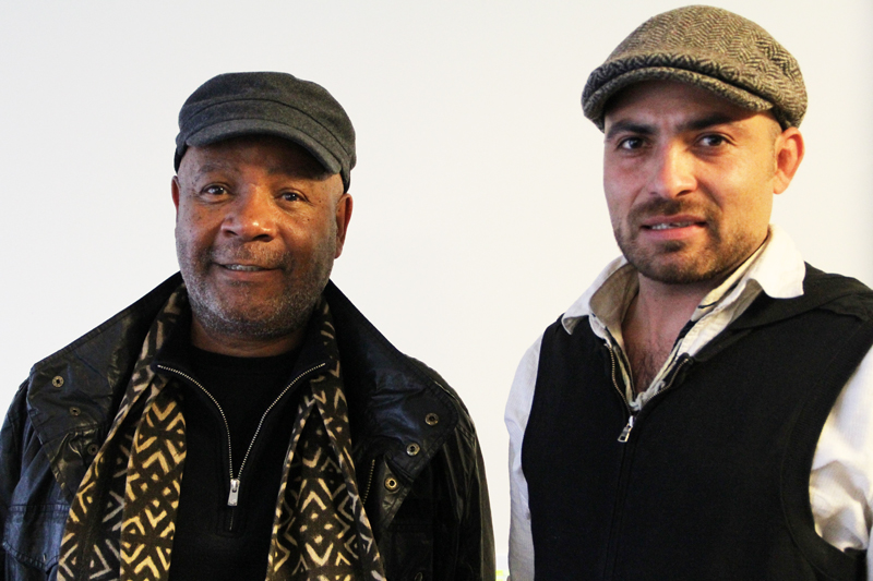 Emory Douglas and Caleb Duarte at Zapanteras Negras, An Encounter, Monday, Feb. 18 at SF State. Photo Benjamin Soto Mast