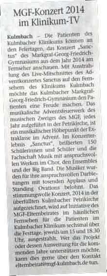 MGF-Adventsonzert im Klinikum Kulmbach