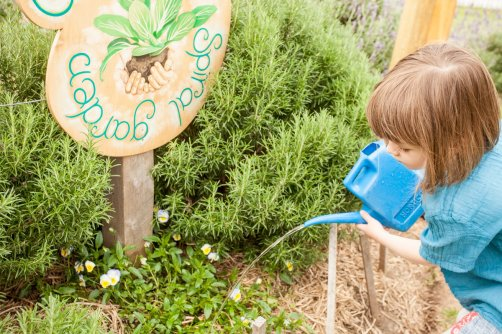 girl-watering-in-spiral-garden