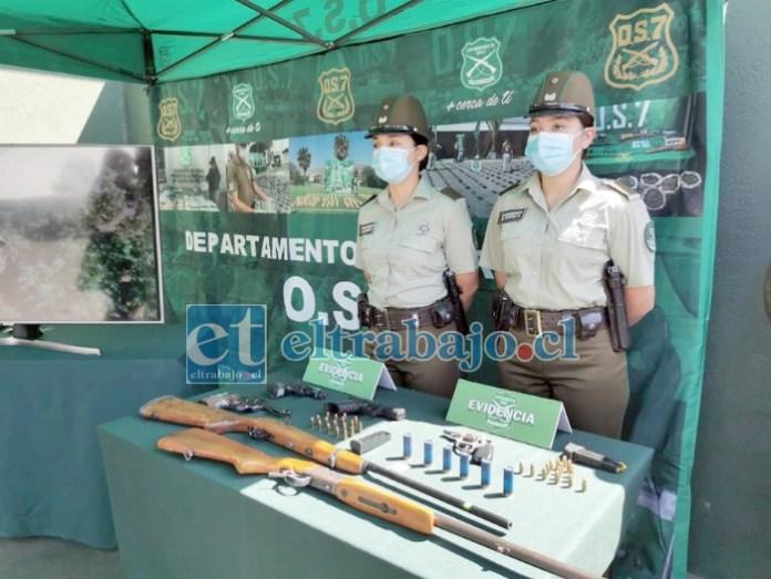 Al margen de millonarios cargamentos de drogas, el 'Plan Cannabis' del OS7 de Aconcagua también logró incautar armamento de fuego.