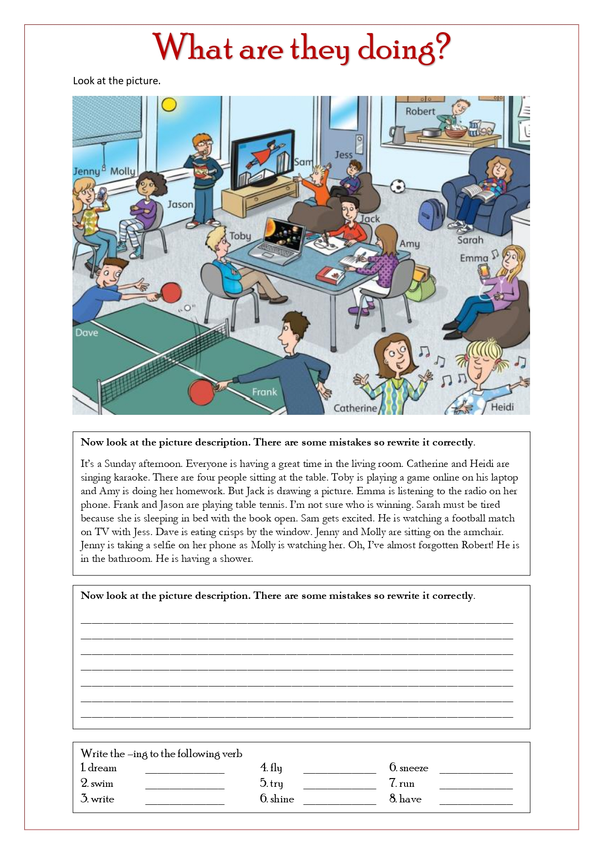 Worksheets Present Continuous Tense