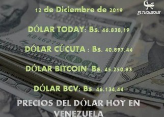 Precio del dólar hoy 12/12/2019 en Venezuela