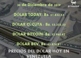 precio del dólar hoy 30/12/2019 en Venezuela