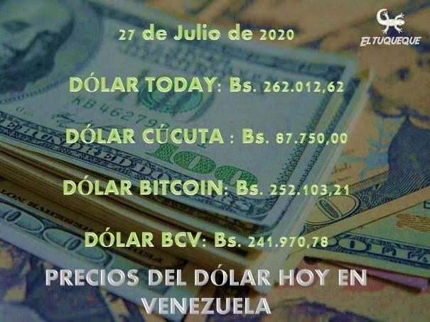 precio del dólar hoy 27/07/2020 en Venezuela
