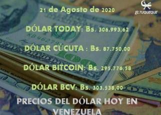 precio del dólar hoy 21/08/2020 en Venezuela