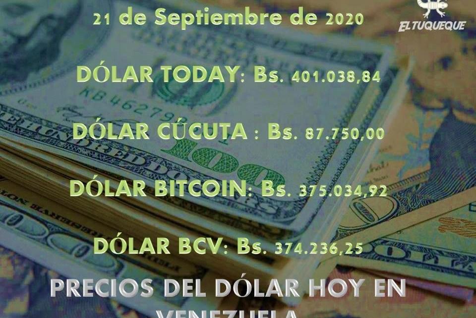 Precio del dólar hoy 21/09/2020 en Venezuela