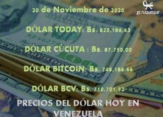 precio del dólar hoy 20/11/2020 en Venezuela