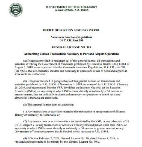 OFAC flexibiliza sanciones a Venezuela