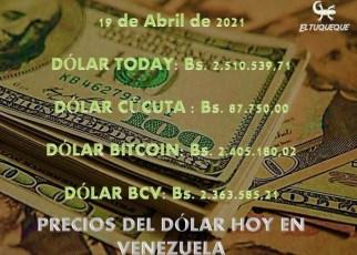 precio del dólar hoy 19/04/2021 en Venezuela