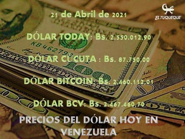 precio del dólar hoy 21/04/2021 en Venezuela