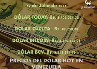precio del dólar hoy 19/07/2021 en Venezuela