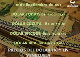 Precio del dólar hoy 20/09/2021 en Venezuela