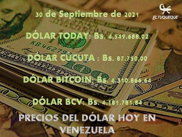 precio del dólar hoy 30/09/2021 en Venezuela