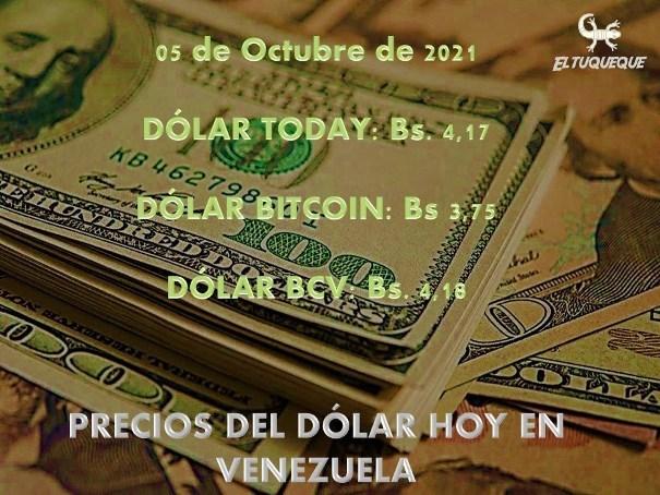 precio del dólar hoy 05/10/2021 en Venezuela