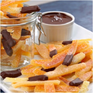A delicious and nutritious treat using orange peels, sugar and chocolate!