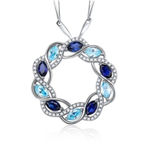 Blue Sapphire and Topaz Sterling Silver Pendant from Merthus