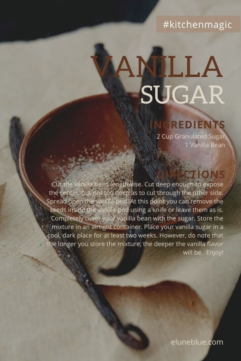 A recipe for vanilla sugar, with a picture of a bowl of vanilla sugar in the background, adorned with whole vanilla beans.