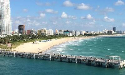 Beach Skyline Florida Miami Beach Miami Usa Water
