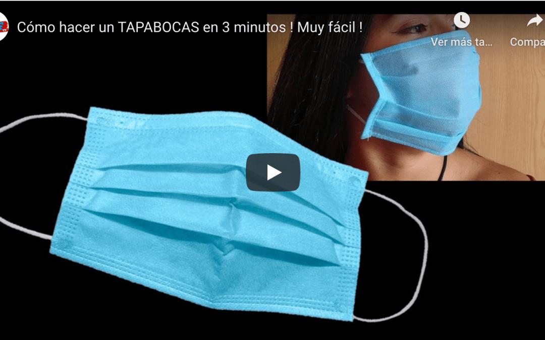 Cómo hacer un TAPABOCAS en 3 minutos ! Muy fácil !