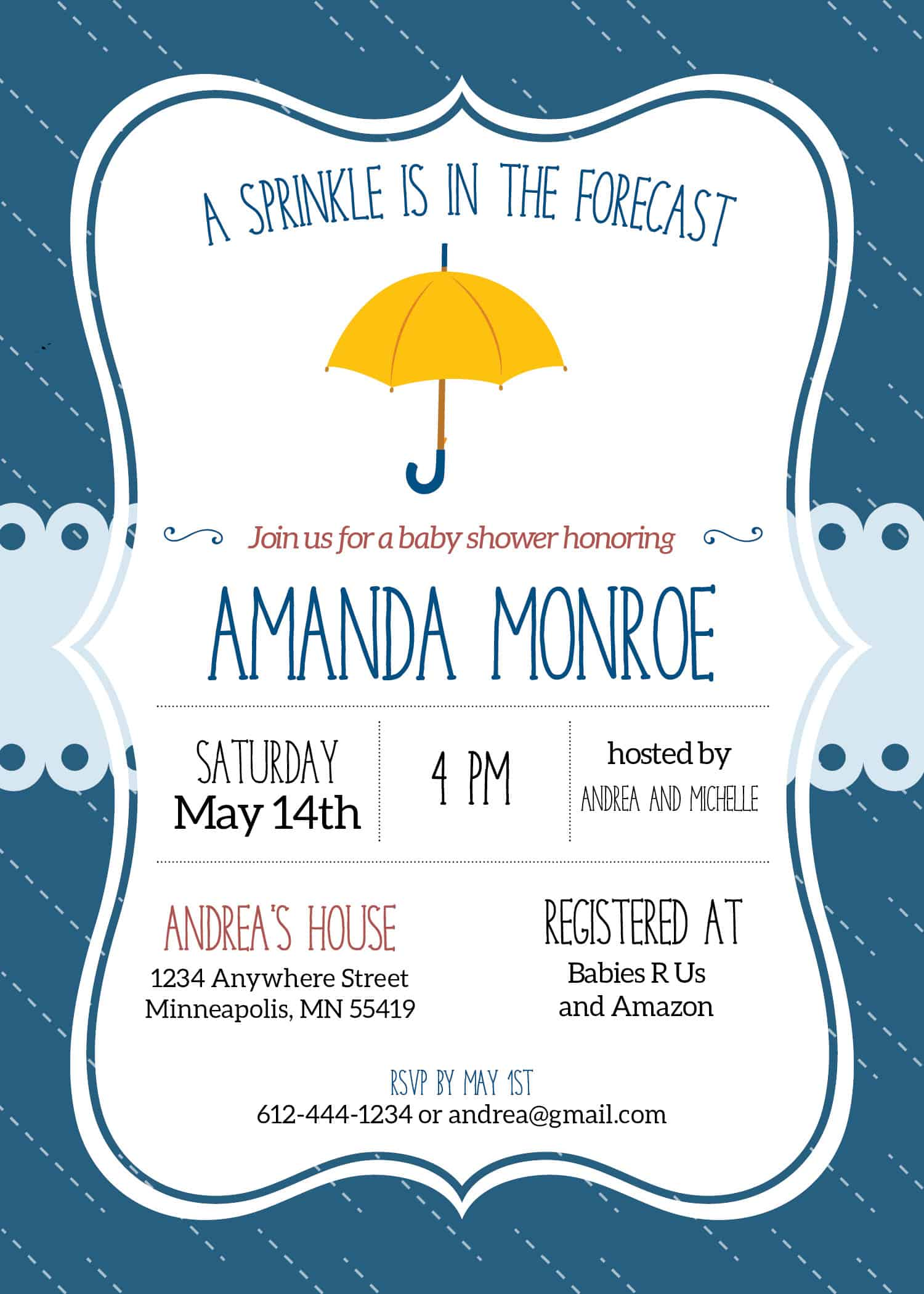 A Sprinkle is in the Forecast Baby Shower Theme - Elva M Design Studio