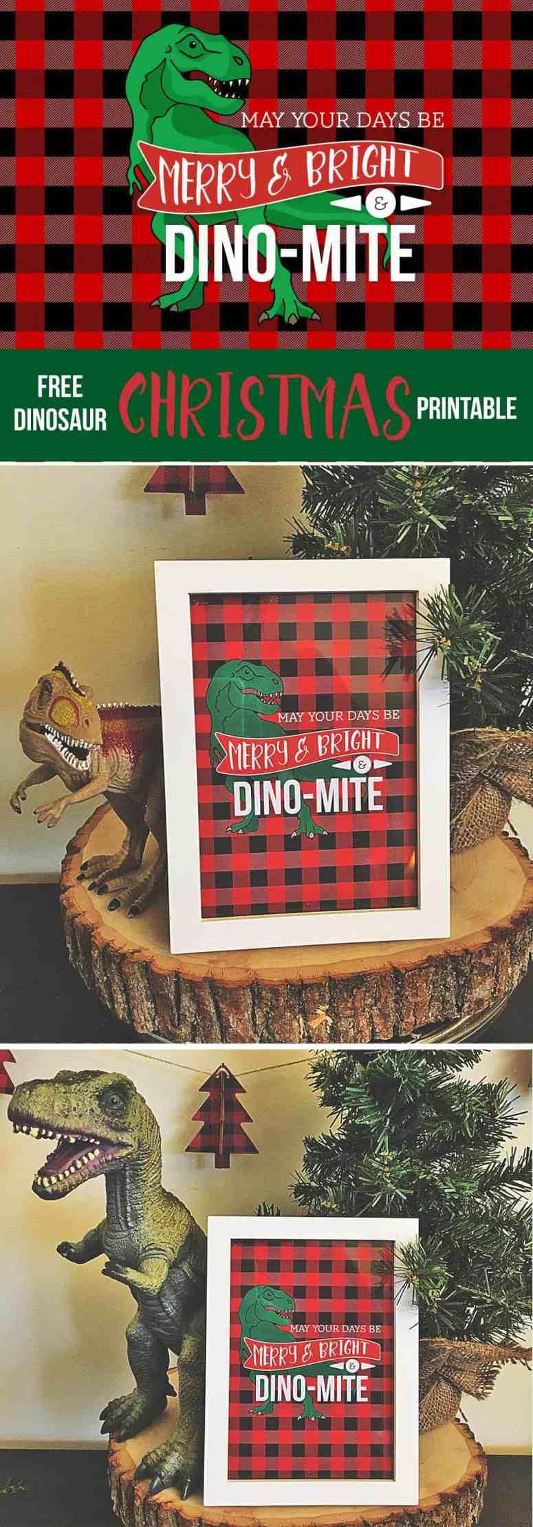 Free Dinosaur Christmas printable from Elva M Design Studio
