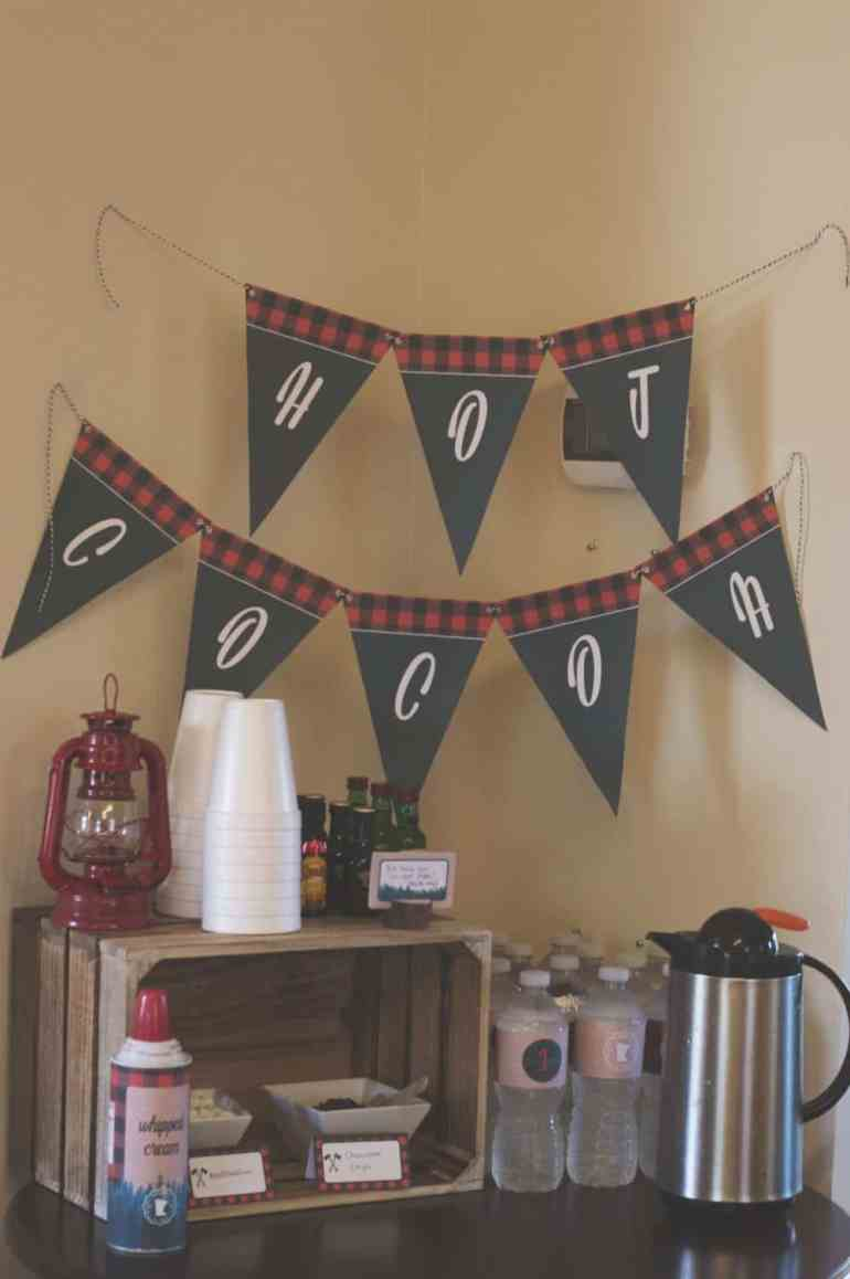 Hot cocoa bar at the lumberjack birthday party styled by Elva M Design Studio
