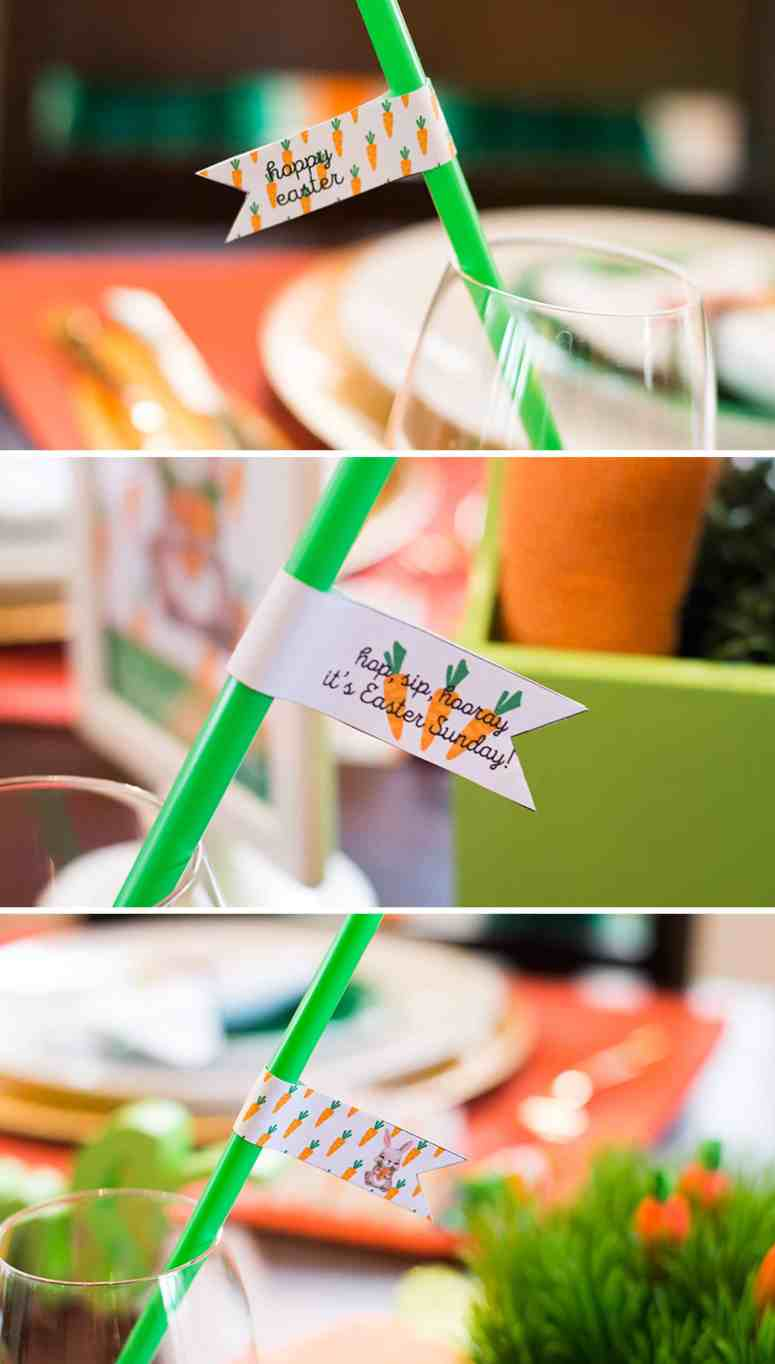 Free Carrot Patch Easter Table Printable Straw Flags