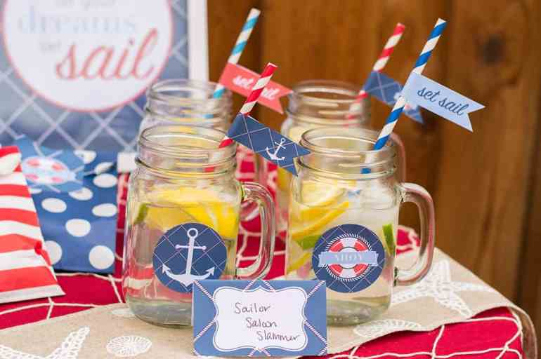 Nautical Party Mason Jar Drinks