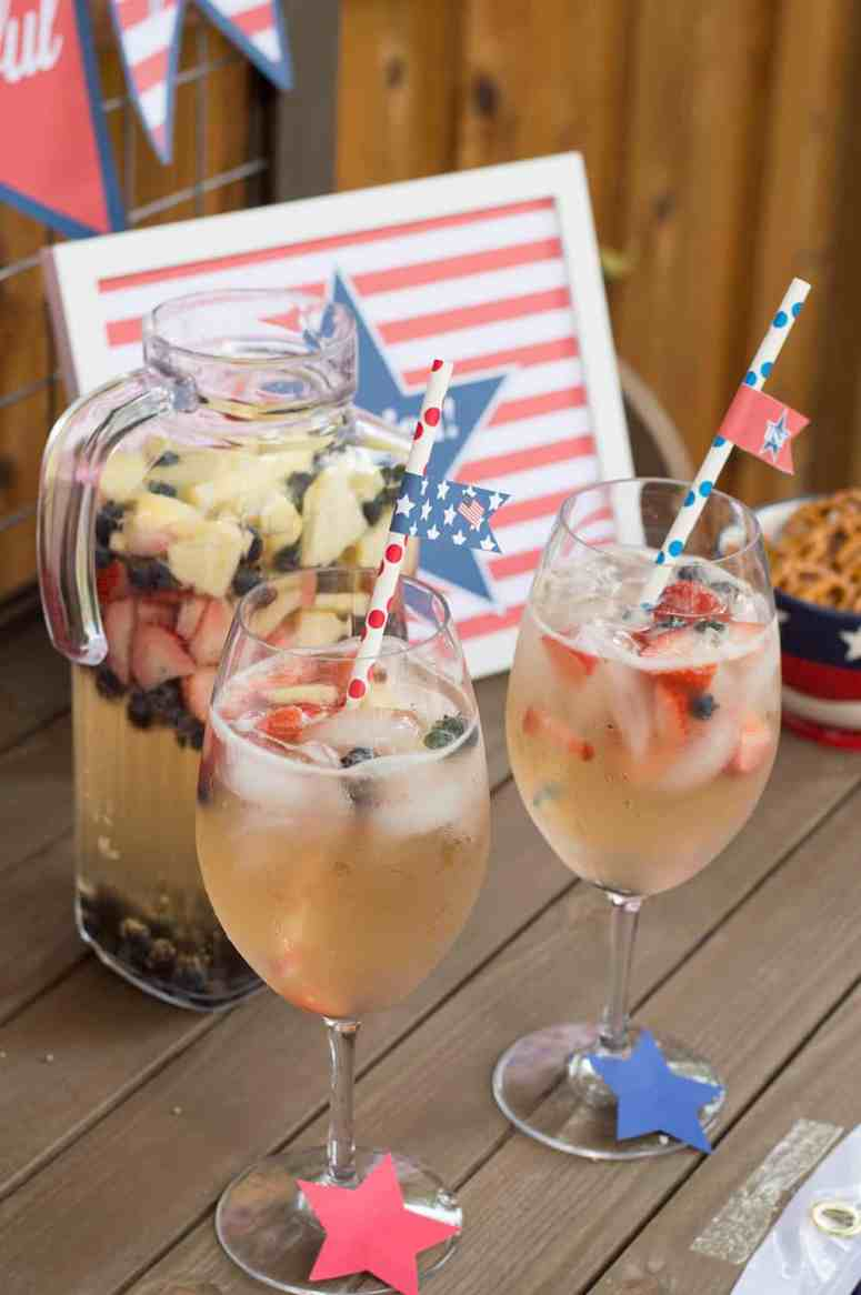 4th of July Sangria with Straw Flags