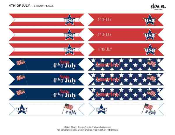 4th of July Straw Flags