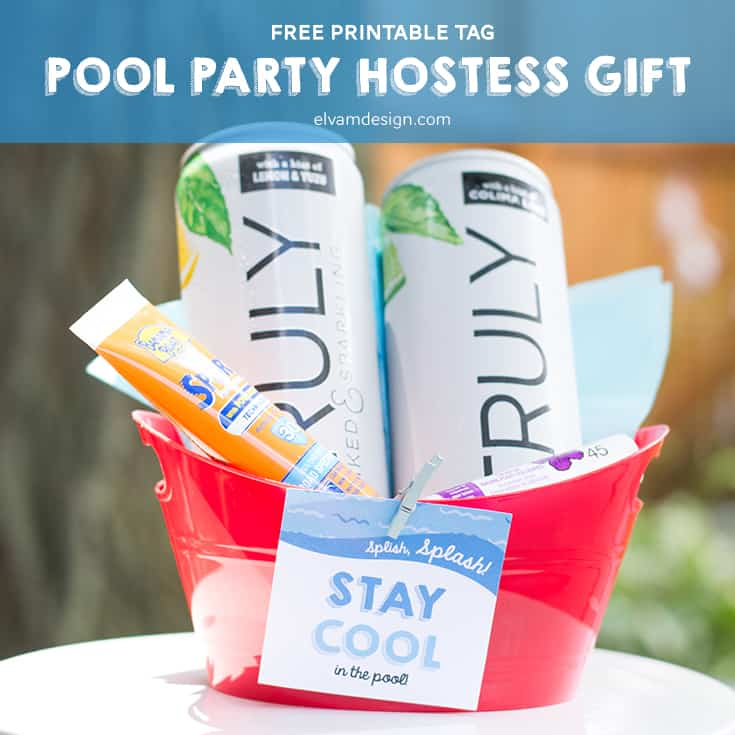 "Splish Splash. Download this FREE ""Stay Cool in the Pool"" Hostess or Favor Tag Printable from Elva M Design Studio"