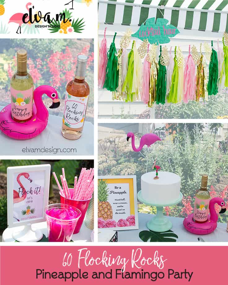 60 Flocking Rocks Pineapple Flamingo Party