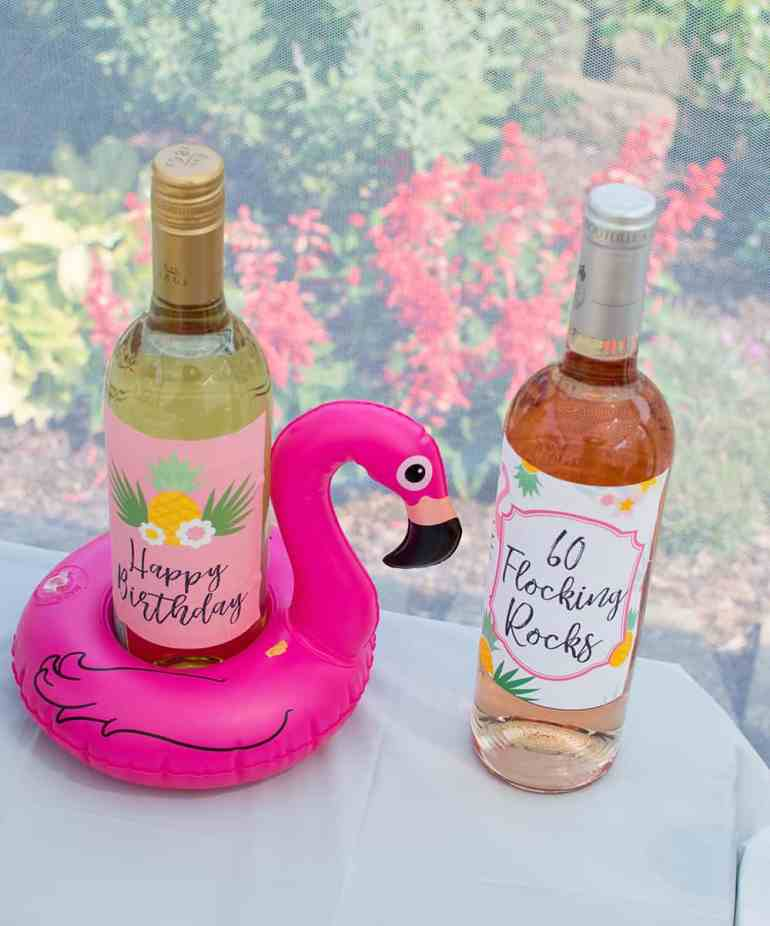 Flamingo Floatie and Custom Wine Labels