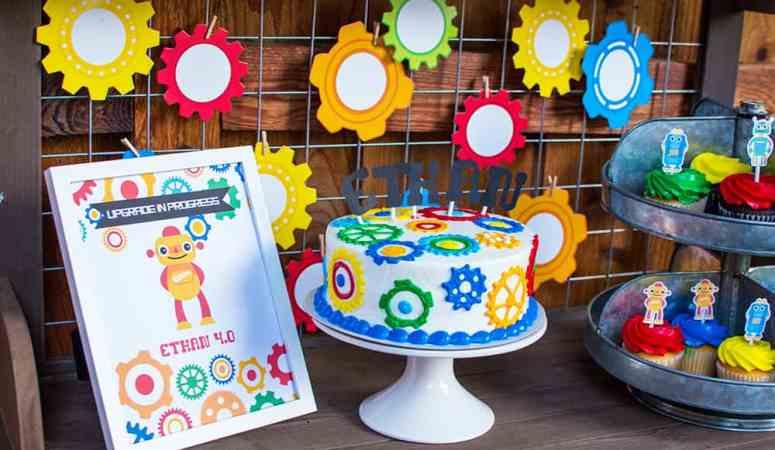 Robot Birthday Dessert Table styled by Elva M Design Studio
