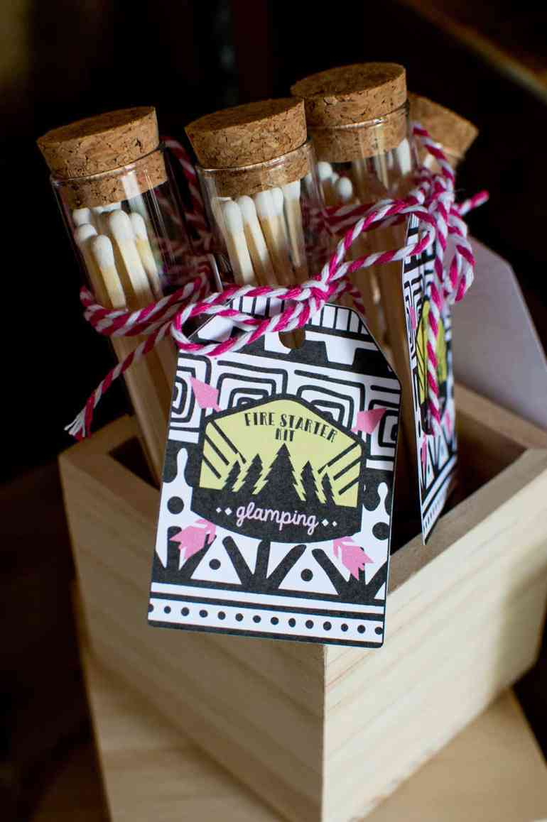 Girls Gone Glamping Fire starter kit favors