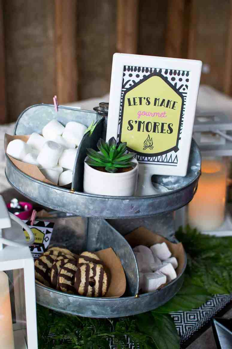 Girls Gone Glamping S'mores Station Party Sign